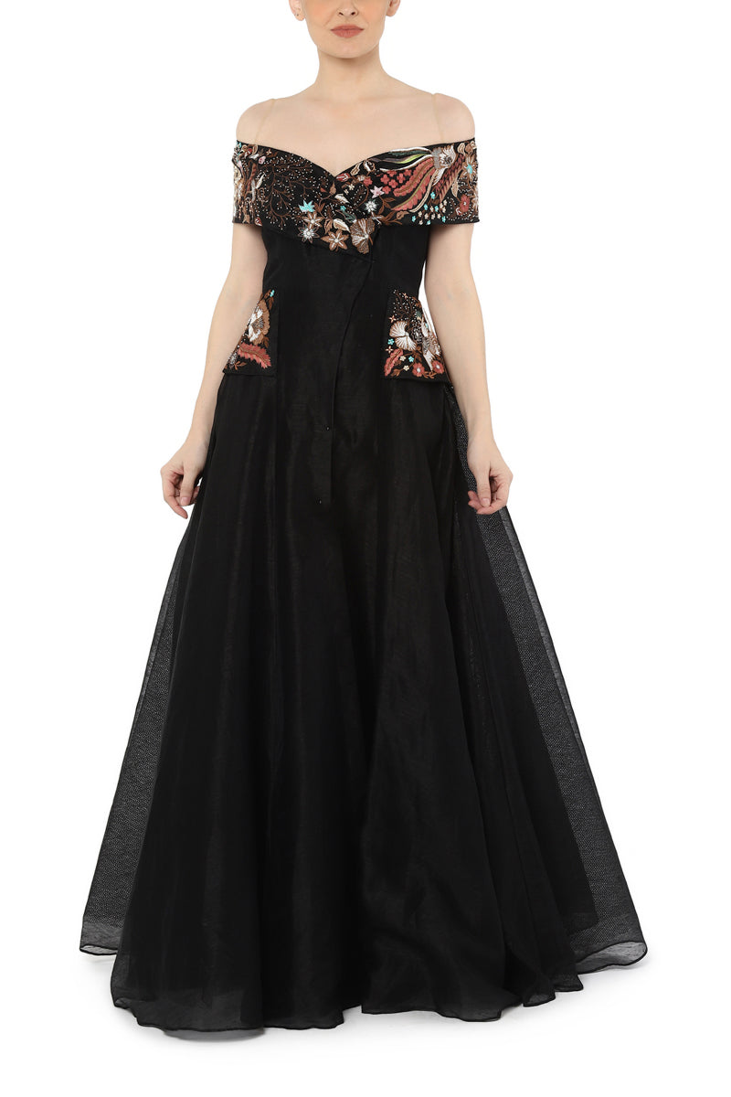 Off shoulder fit flair gown