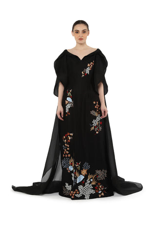 Front open v neck gown