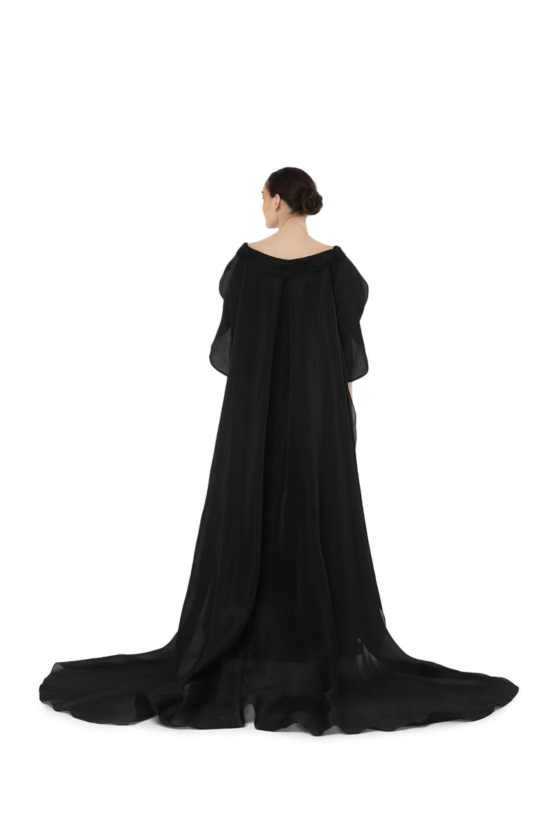 Sweet heart neck cape gown