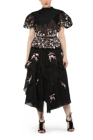 Asymmetric off-shoulder Embroidered Dress