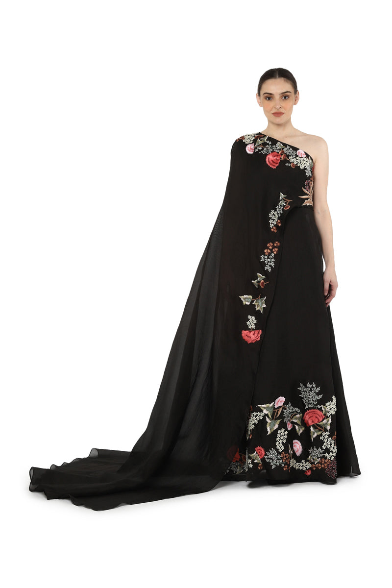 One elongated sleeve gown
