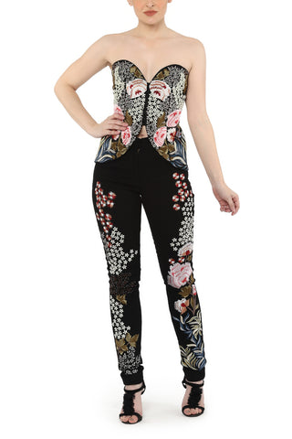 Asymmetrical corset with pants