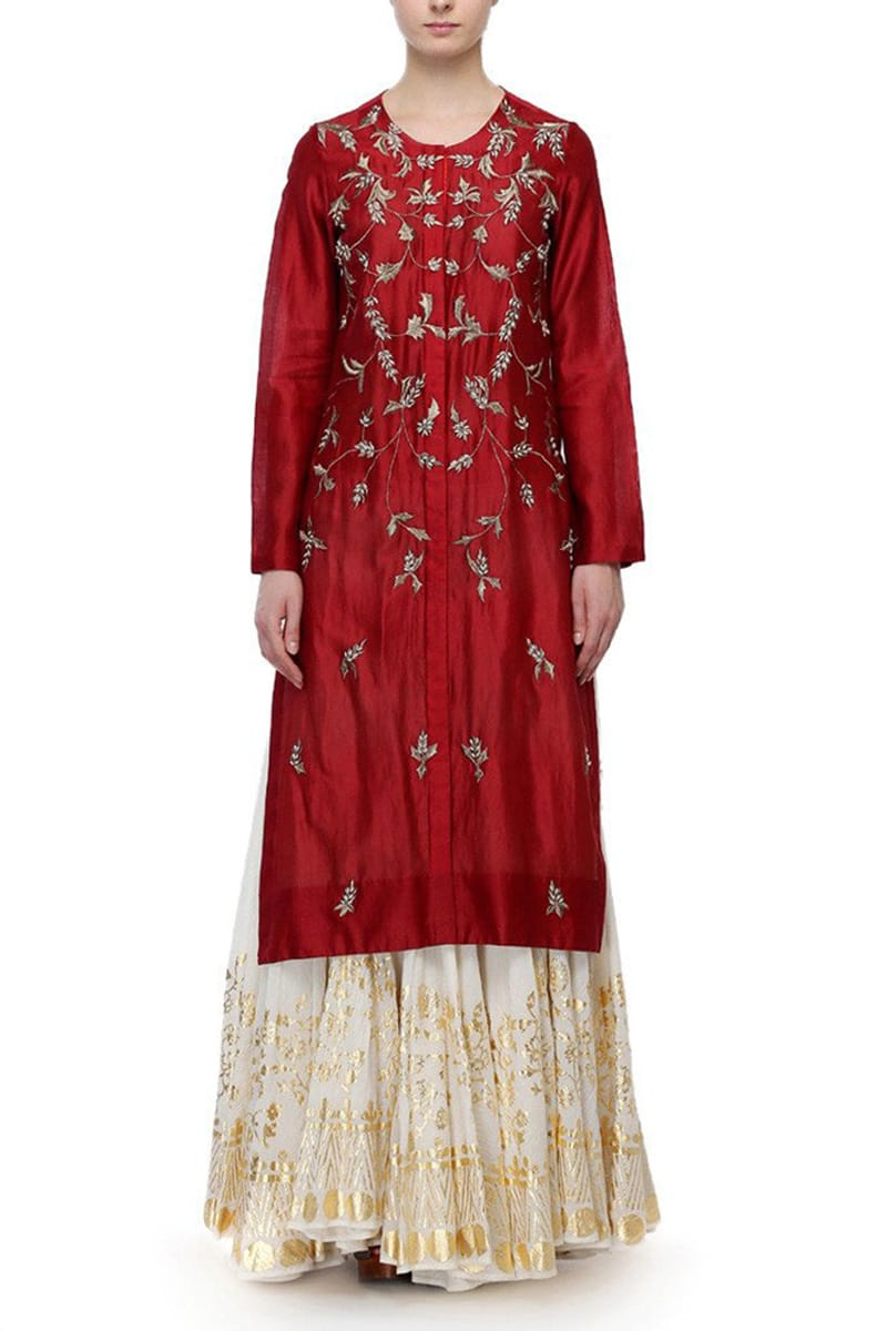 Front-opening Embroidered Kurta & Foil Printed Skirt