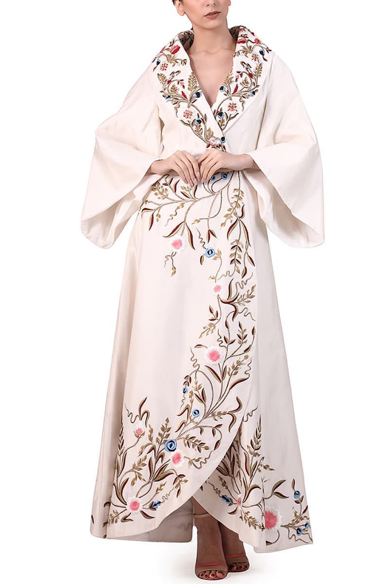 Overlap Embroidered Jacket Gown