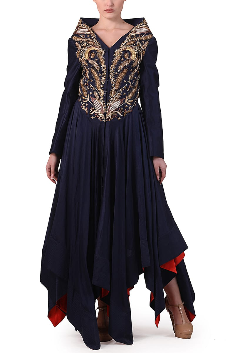 Asymmetric Embroidered Kurta