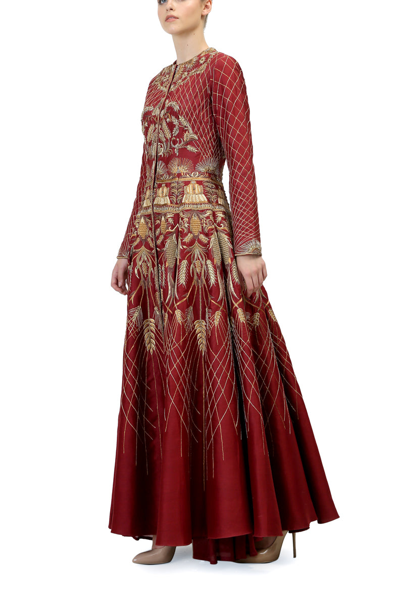 Red Embroidered Gown