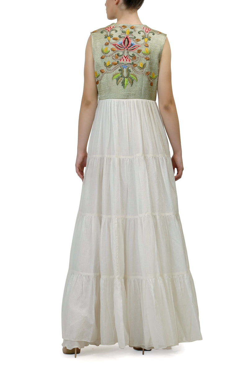 Yoke Embroidered Tiered Dress