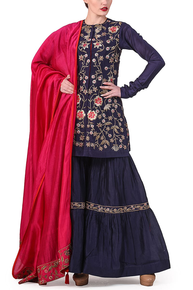 Embroidered Short Kurta, Sharara & Dupatta set