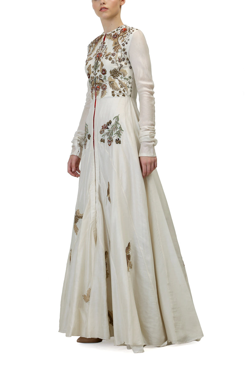 Round Neck Embroidered Gown