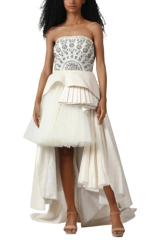 Pleated Embroidered Gown