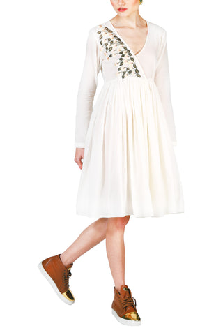 Eyelid Lace Tie-up Dress