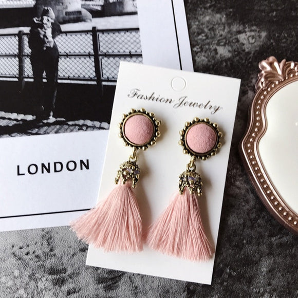 Statement Vintage Velvet Ball Tassel Earrings