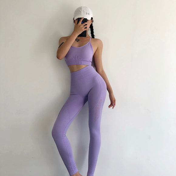 High Waist Energy Seamless Leggings and Strappy Bra 2 Piece Yoga Gym Set | Multiple Colours