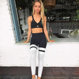 Black and White High Waist Push Up Fitness Work Out Leggings