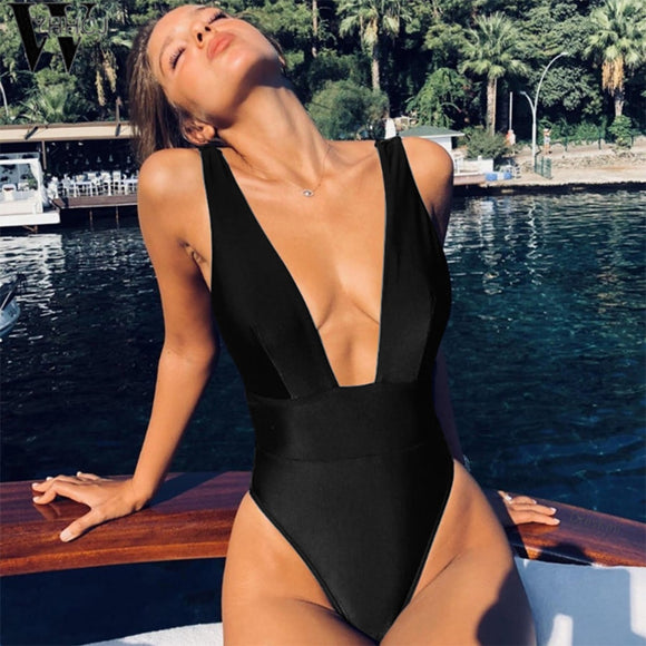 High Cut Waist V-Neck Monokini Swimsuit | Multiple Colours
