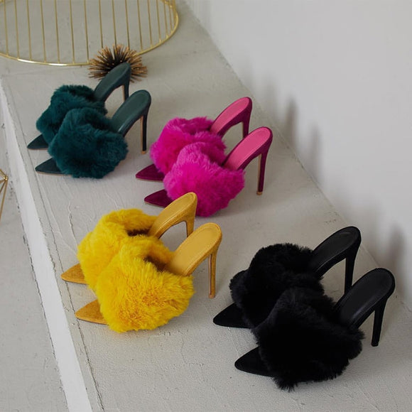 Luxury Plush Fur High Heel Slippers | Multiple Colours and Styles
