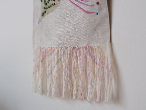 Embroidered linen wall hanging in Big Gum design - limited edition