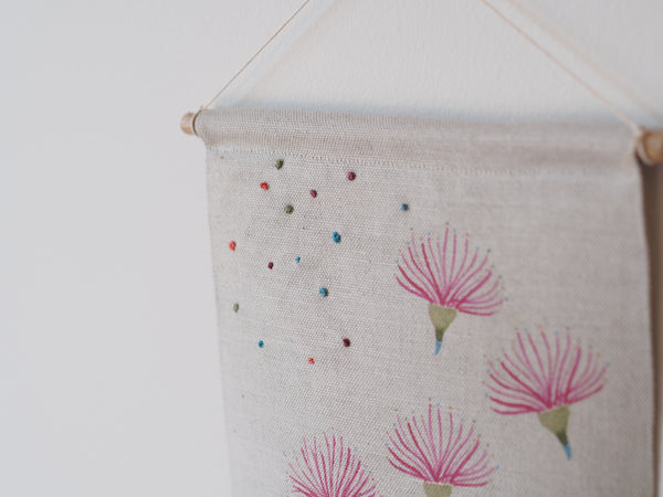 Embroidered linen wall hanging in gum blossom print - limited edition