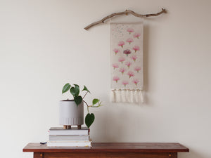 Embroidered linen wall hanging in gum flower print - limited edition