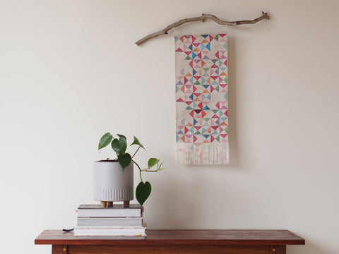 Embroidered linen wall hanging in watercolour print - limited edition