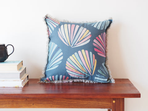 Fringed cushion in Ocean Shells print - limited edition