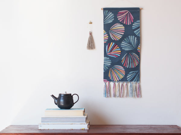 Embroidered linen wall hanging in Ocean Shells print - limited edition