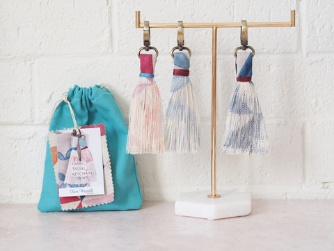 DIY kit - fabric tassel keychains - geo prints