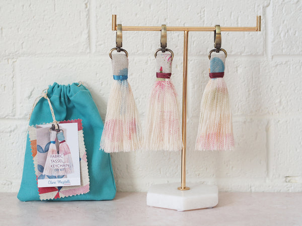 DIY kit - fabric tassel keychains - flora prints