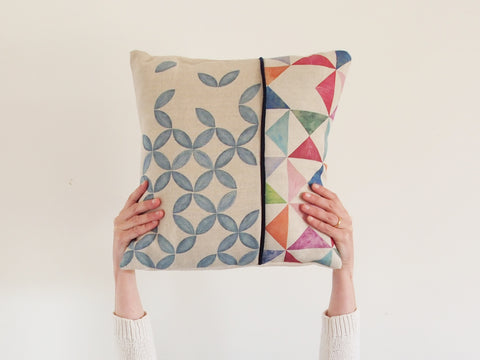 Cushion cover - Multi and petal prints