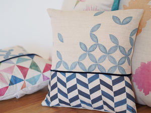 Cushion cover - Petal and chevron prints