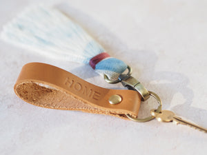 Personalised leather and tassel keychain