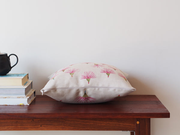 Cushion in gum flower watercolour print