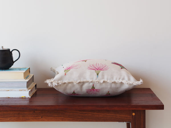 Embroidered cushion in gum flower print - limited edition