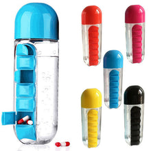 Load image into Gallery viewer, Water Bottle with Pill Travel Box Organizer