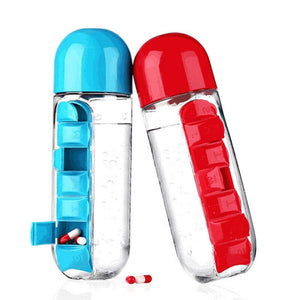 Water Bottle with Pill Travel Box Organizer