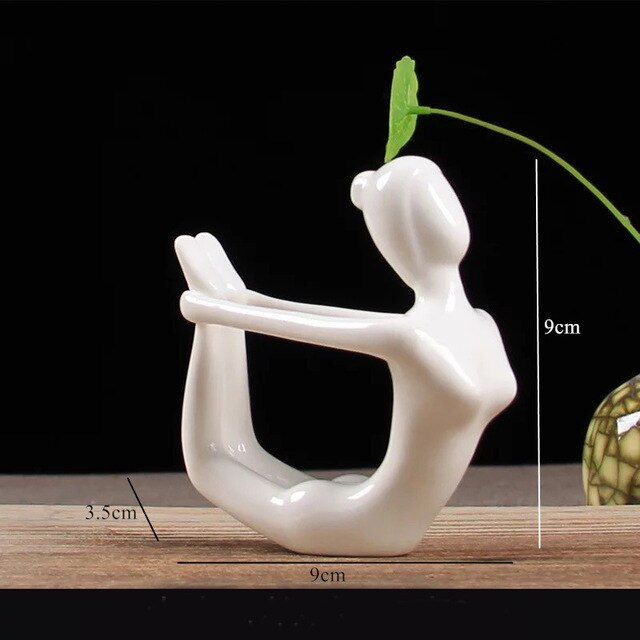 Ceramic Yoga Poses Girl Statue