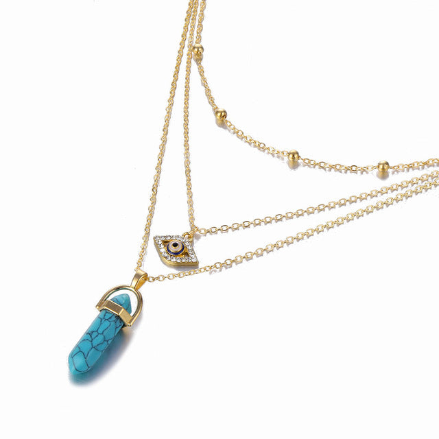 Marquise stone multi layered necklace