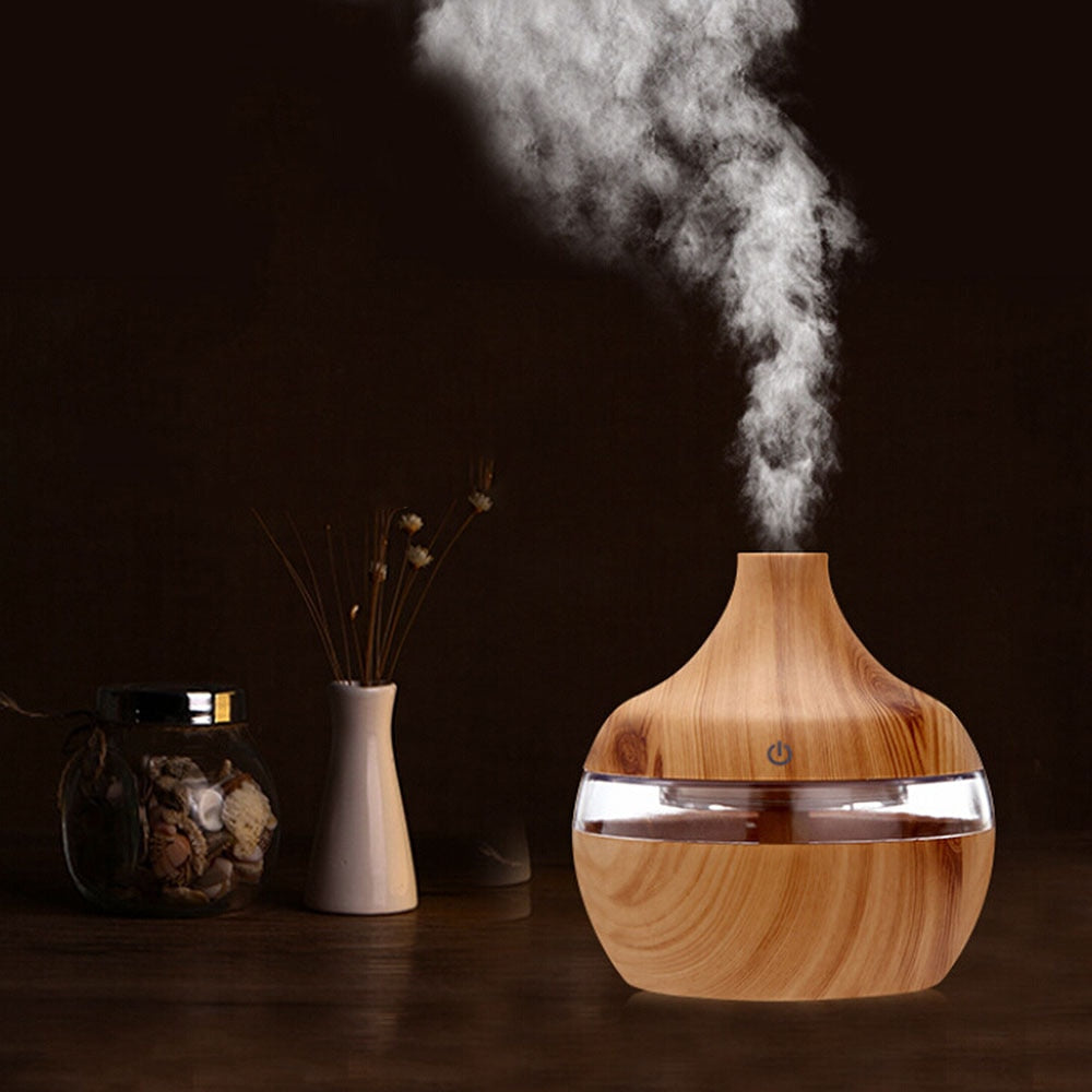 Wood Grain USB Air Freshener 300ml Aroma Humidifier Aromatherapy 7 Color LED Lights Electric Essential Oil Aroma Diffuser