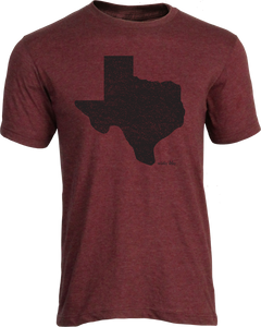Black Distressed Texas Tee Heather Maroon