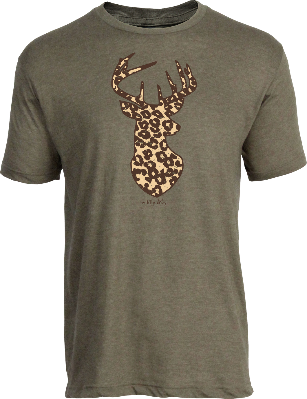 Leopard Deer Tee Heather Olive