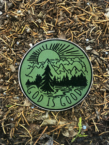 God Is Good Sticker Military Green