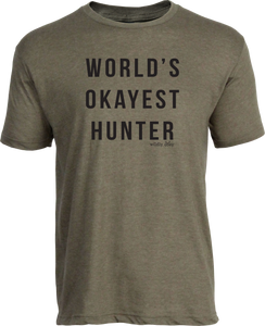 World's Okayest Hunter Tee Heather Military Green