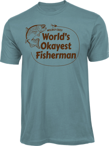 World's Okayest Fisherman Tee Slate