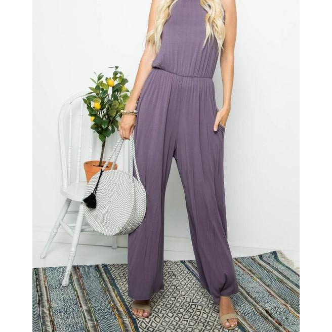 Lavender Solid Sleeveless Jumpsuit with side Pockets
