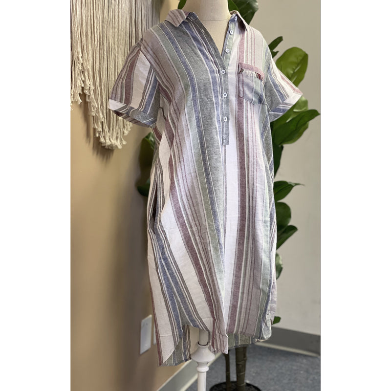 286 Khaki/ Wine Striped Shirt Dress