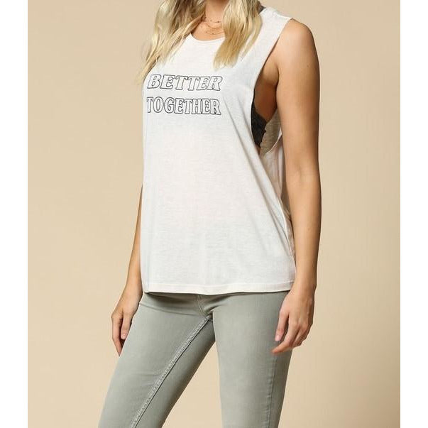 "Clay ""Better Together"" Graphic Cotton Slub Top"