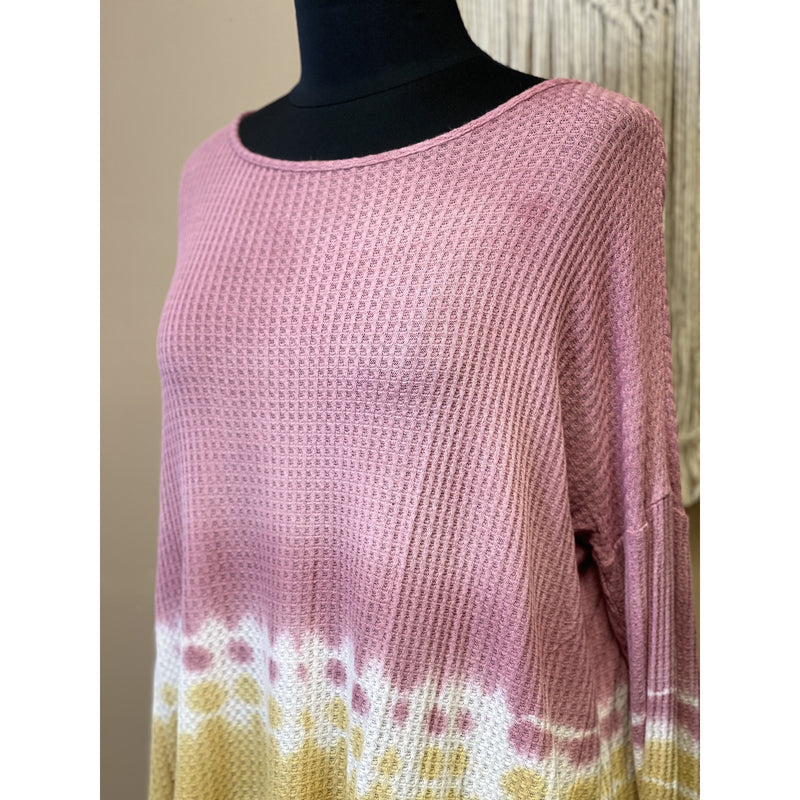 414 Mauve/Yellow Tie Dye Knit Top