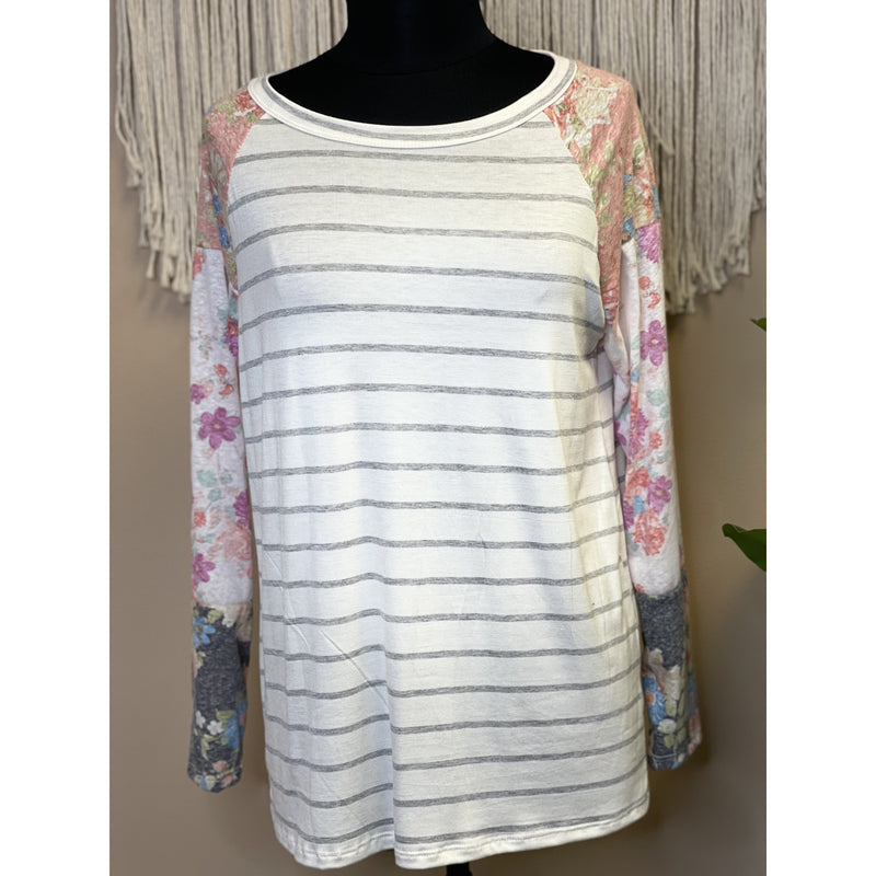 852 Ivory/ Heather Grey Round Neck Raglan Striped Long Sleeve