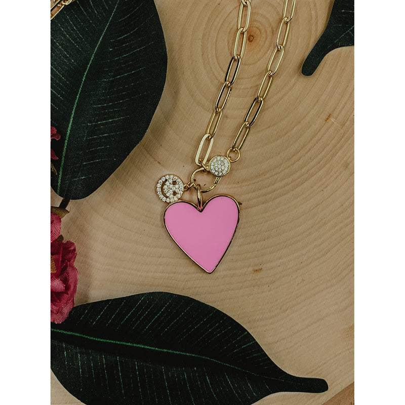 C23 Gold Chain Link Necklace w/ Pink Heart