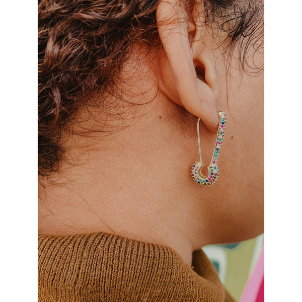 C37 Gold Multi Rhinestone Safety Pin Earrings